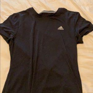 Short Sleeved Black Adidas Shirt.